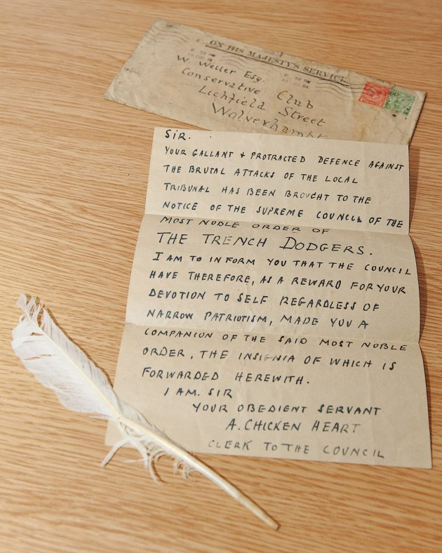White feather letter sent to architect William Weller, 1916 | Courtesy of Wolverhampton City Archives