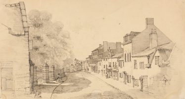 Pencilled sketch of Church Street, Oswestry, 1843 | Courtesy of Oswestry Archives