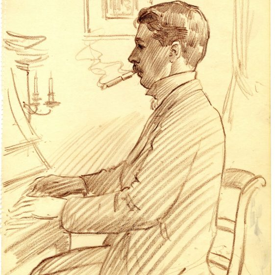 Writer and novelist Arnold Bennett, drawn in 1907 by artist and friend Frederick Marriott.  | Keele University Special Collections & Archives