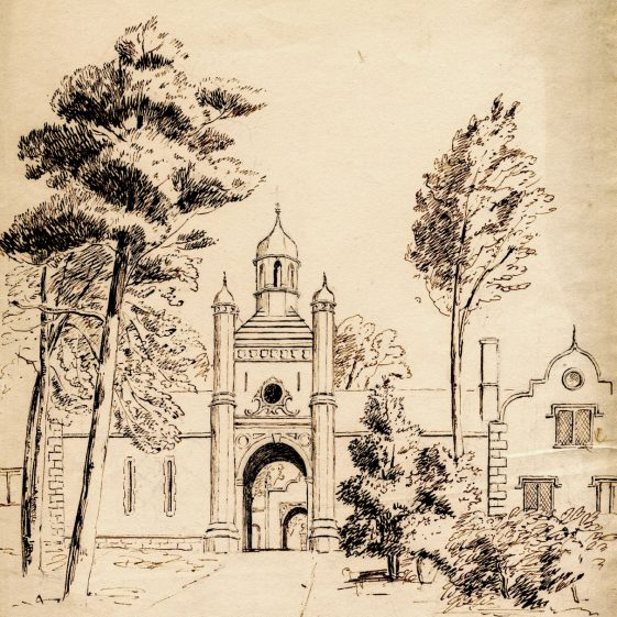 Mid nineteenth century drawing of the entrance to the Clock House and stable block at Keele Hall, as rebuilt to the designs of landscape and architectural artist Edward Blore. | Keele University Special Collections & Archives
