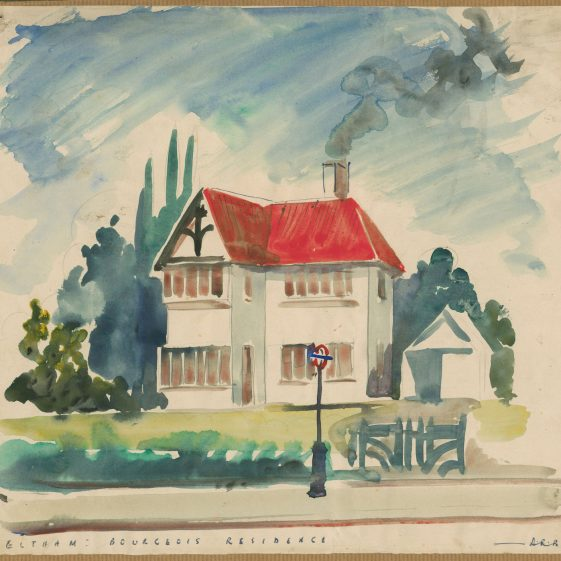 Watercolour of a 'bourgeois residence' in Eltham, part of the Institute of Sociology's 1930s survey of the Borough of Woolwich. | Keele University Special Collections & Archives