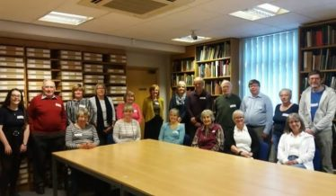 Some of the more local volunteers when they attended a Bytes coffee morning. They got to meet each other and share hints and tips for working on their bundles. | Courtesy of Warwickshire County Record Office