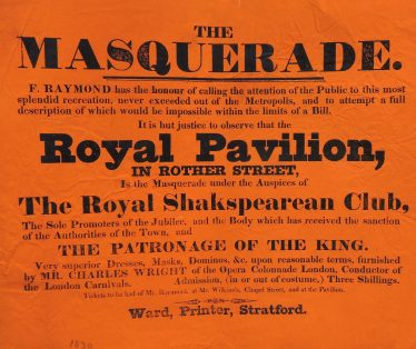 Playbill for Birthday Masquerade 1830 | Courtesy of Shakespeare Birthplace Trust