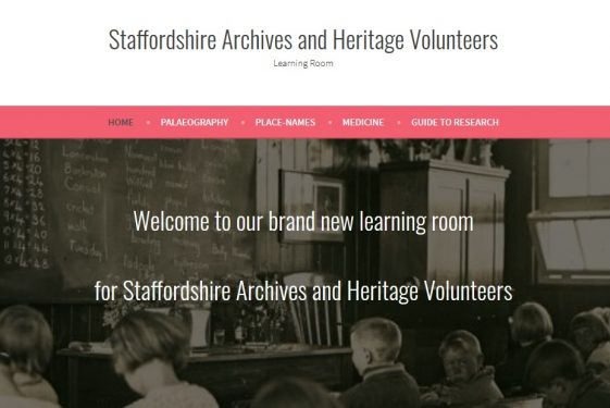 Staffordshire Archives and Heritage Volunteers Learning Room