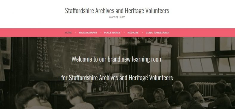 The Learning Room frontpage | Courtesy of Staffordshire Archives and Heritage