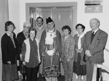 Friends committee at the Ludlow History Day, October 1999 Pat, third from the left with Bob behind. | Courtesy of Shropshire Archives